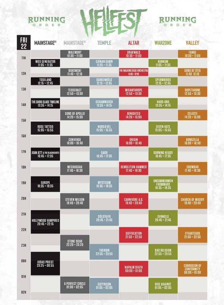Hellfest 2018 Horarios